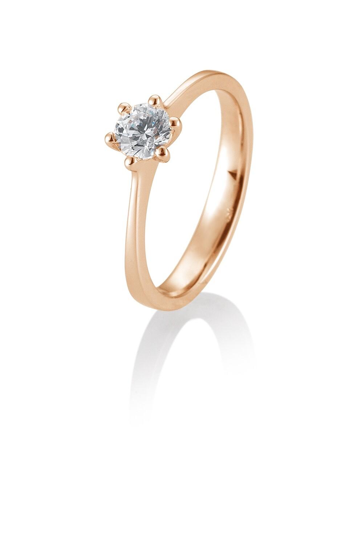 Verlobungsring Rotgold 585 0,50ct tw/si Solitär GIA