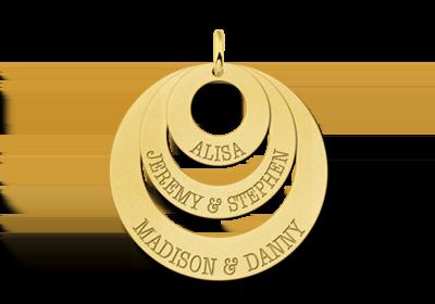 Goldener Anhänger mit drei Ringen und Namen
