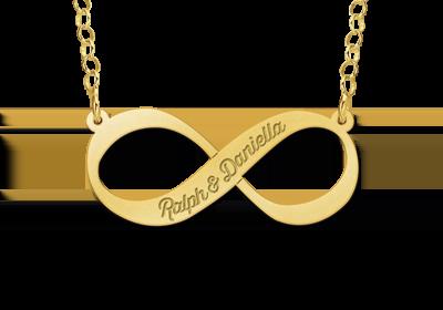 Goldene Infinity Kette mit Gravur