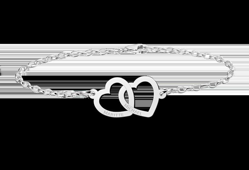 Silbernes Armband mit zwei Herzen