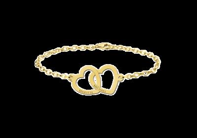 Goldenes Armband mit zwei Herzen