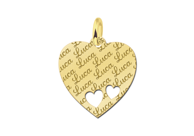 Gold Ketten Herz Anhänger mit Name und Herz - Gravur