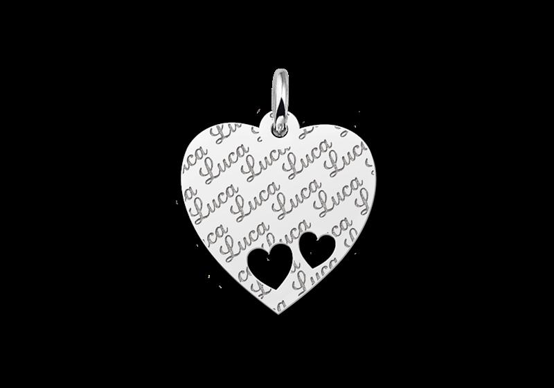 Silbernes Plättchen Herz Namensgravur mit 2 Herzchen