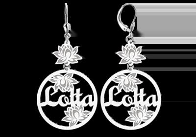 Silber personalisierte Ohrringe mit Name und Blumen