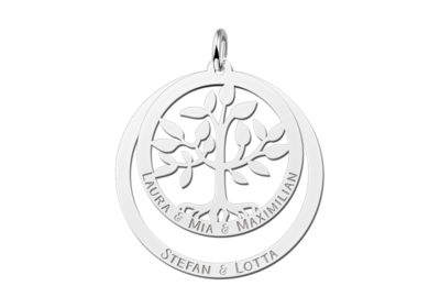 Silberner Familienanhänger mit Lebensbaum