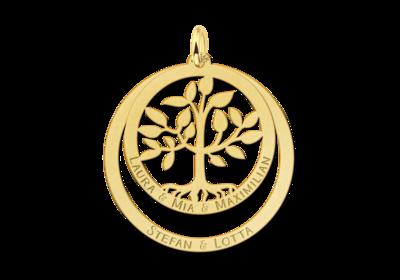 Goldener Familienanhänger mit Lebensbaum