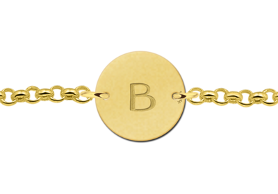 Goldenes Armband Buchstaben ringförmig
