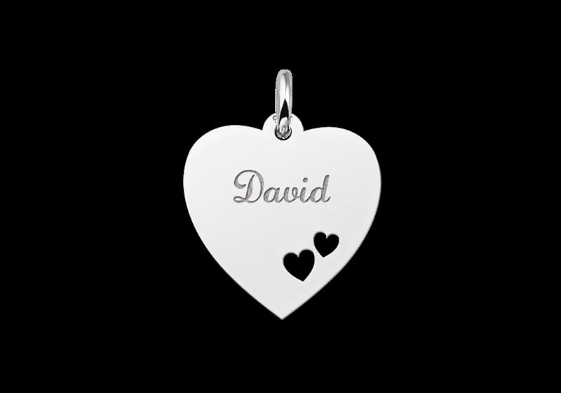 Silber Gravuranhänger Herz mit 2 Herzchen