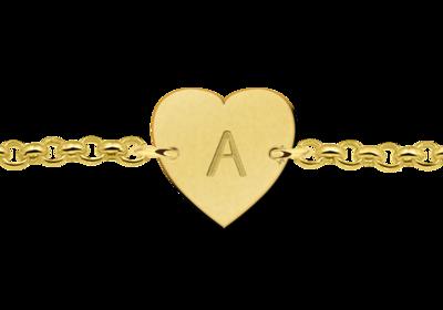 Goldenes Armband mit Buchstaben herzförmig