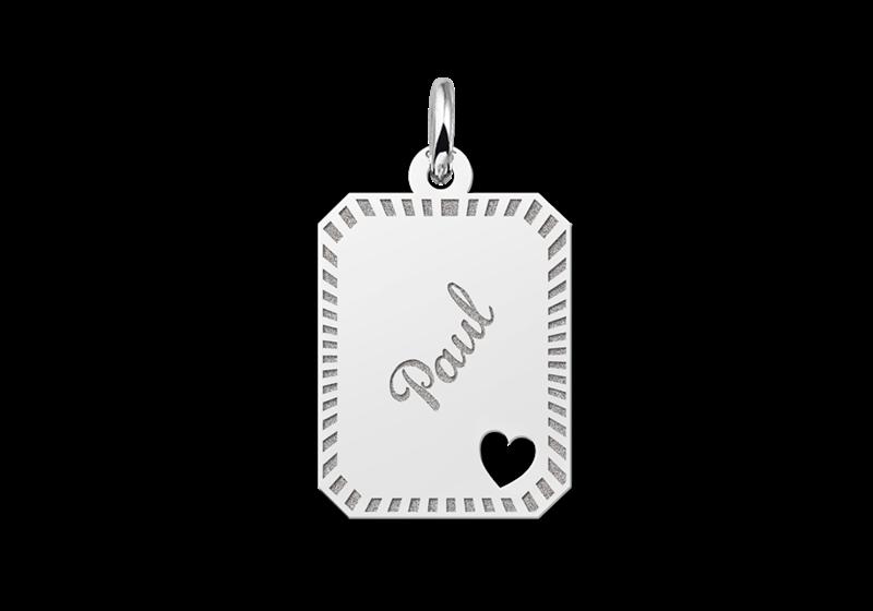 Kettenanhänger Silber 8-eckig mit Rand und Herz