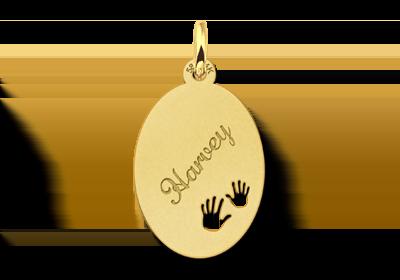 Gravuranhänger aus Gold mit Händchen