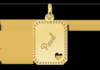Gold Anhänger mit Rand und Herz - rechteckig