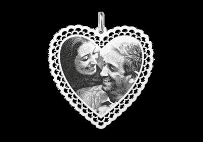 Fotoanhänger Herz mit zierlichen Rand Silber