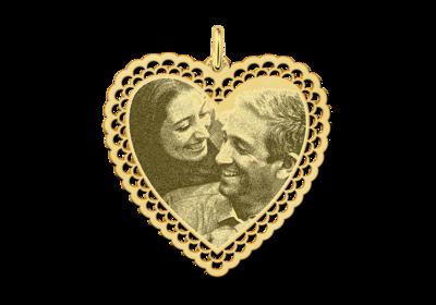 Fotoanhänger Herz mit zierlichen Rand Gold
