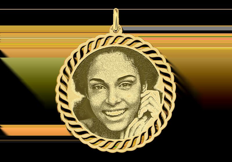 Fotoanhänger rund mit zierlichen Rand Gold
