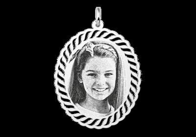 Fotoanhänger oval mit Kabelmuster Silber