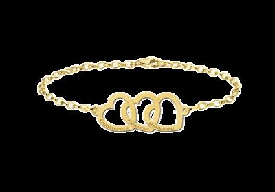 Goldenes Armband mit drei Herzen