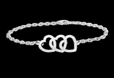 Armband aus Silber mit drei Herzen