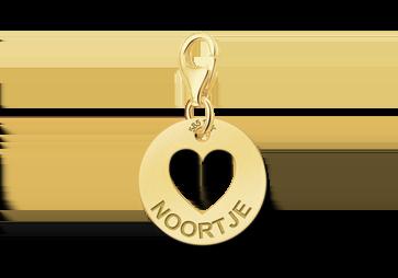 Gold Charm Anhänger mit Name - Herz