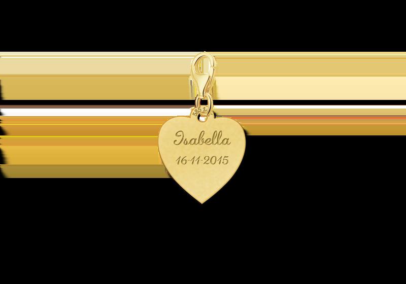 Goldener Charm Herz mit Name und Datum