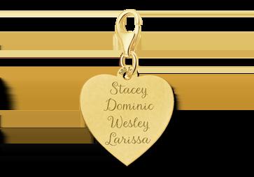 Goldener Herz Charm mit vier Namen