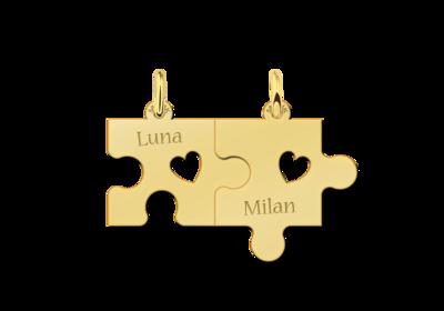Goldene Freundschafts- oder Pärchenanhänger Puzzle mit Herzchen