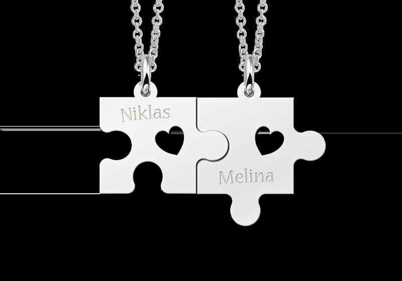 Silberne Freundschafts- oder Pärchenkette Puzzle mit Herzchen