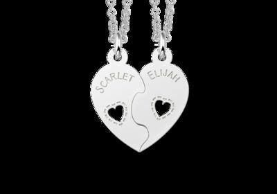 Silberne Freundschaftskette Herz mit Namen