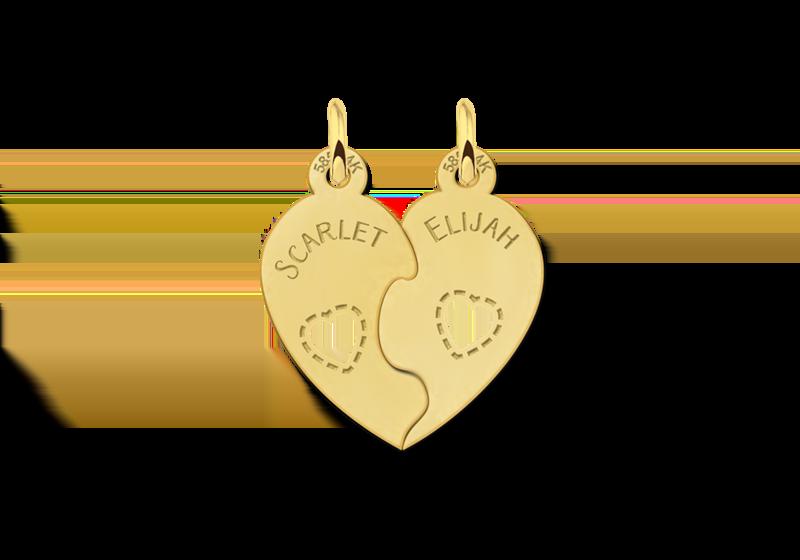 Goldene Freundschaftskette Herz mit Namen