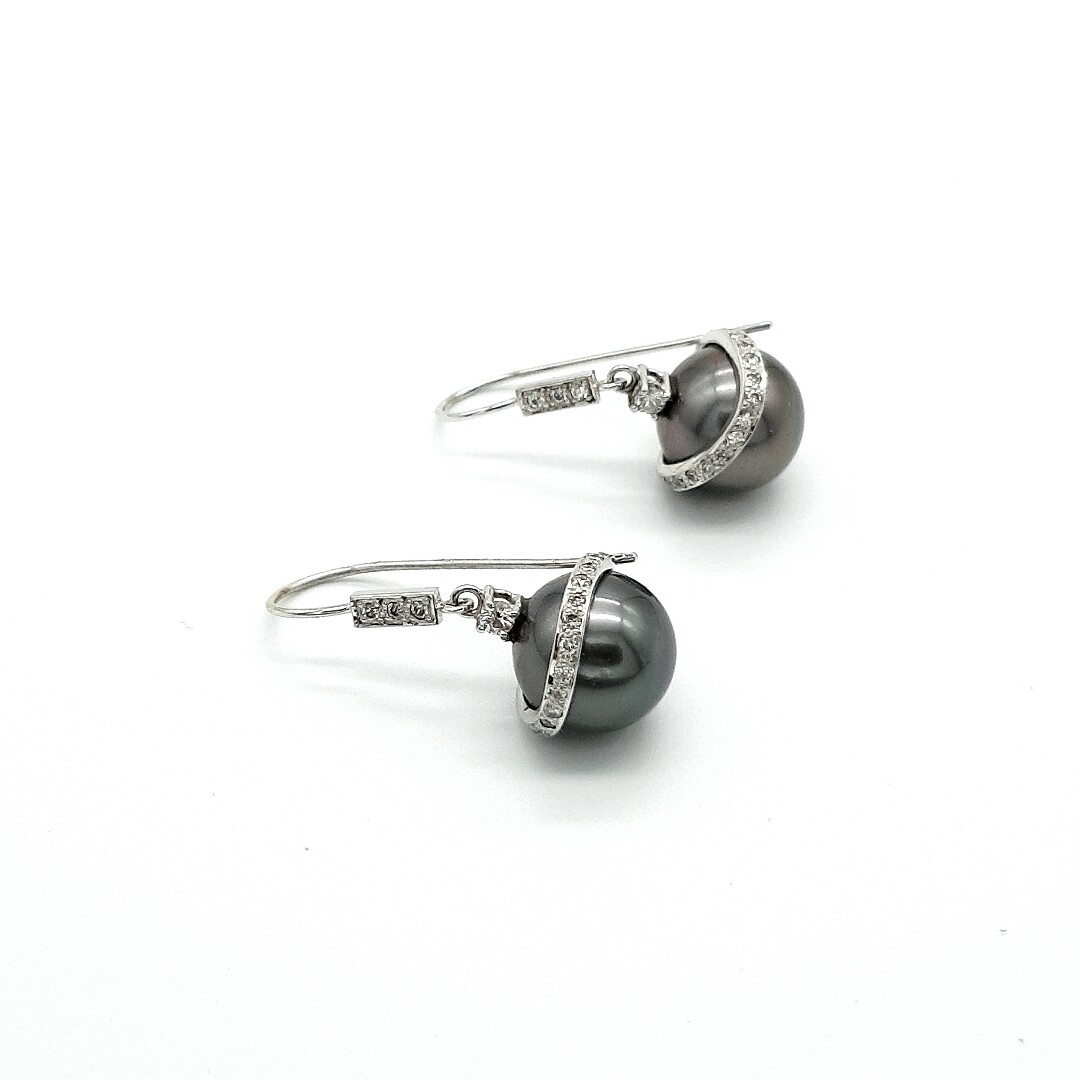 Weißgold Ohrringe mit Perle und Brillanten