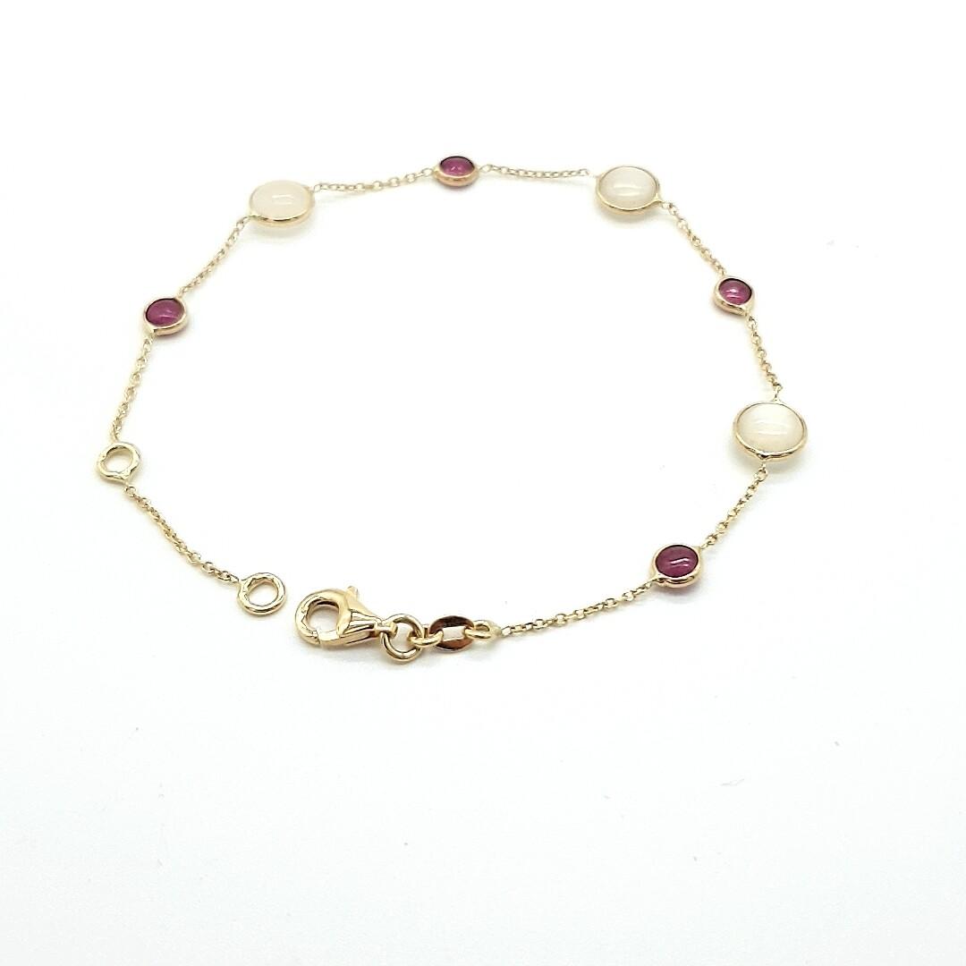 Gelbgold Armband mit Rubin und Permutt