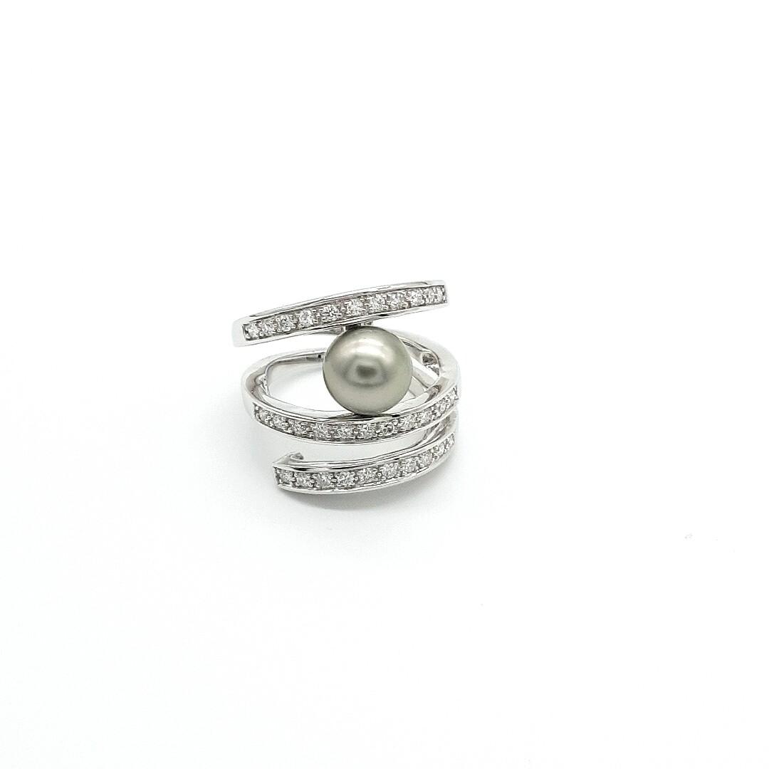 Weißgold Ring mit Tahiti Perle und Brillanten