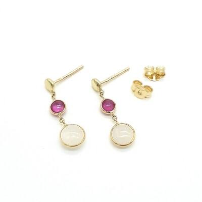 Gelbgold Ohrringe mit Rubin und Perlmutt