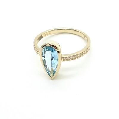 Gelbgold Topas Ring mit Brillanten  585/000