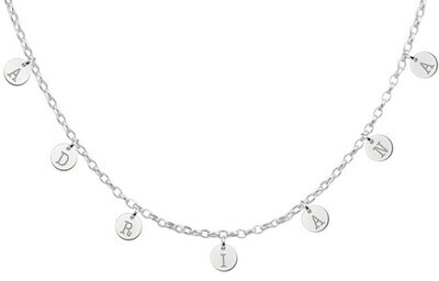 Silberne Namenskette mit runden Buchstaben