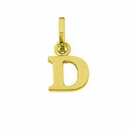 Anhänger Buchstabe D, 585 Gelbgold, 6mm, schlicht