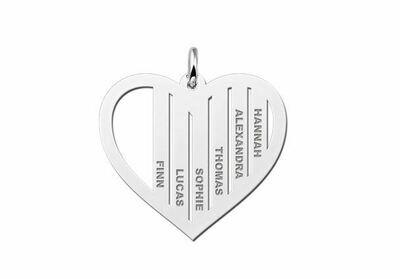 Silberner Familienanhänger in Herzform mit Namen Inklusive Kette 45-50 cm