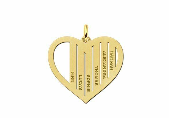 Goldene Familienanhänger in Herzform mit Namen 585