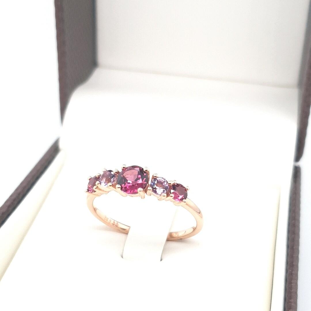Ring Amethyst Rhodolith Rotgold