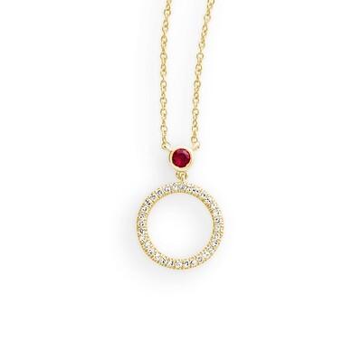 Halskette mit Diamanten 0,05ct H/SI und Rubin