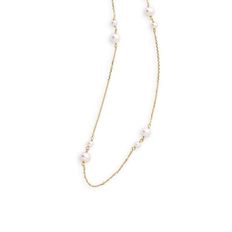 Gelbgold 585 und Süßwasserperlen. Halskette 45cm