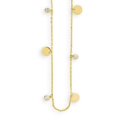 STOLZAUF DICH.Bei dir läuft allesrund, wie auchbei den stylischenSchmuckstücken in Gelbgold 585 mitZirkonia. Halskette45cm lang.