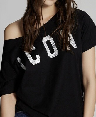 D2 Oversize T-Shirt ICON CRYSTAL, black-white