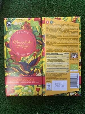 Chocolat lait caramel noisette BIO 80grammes