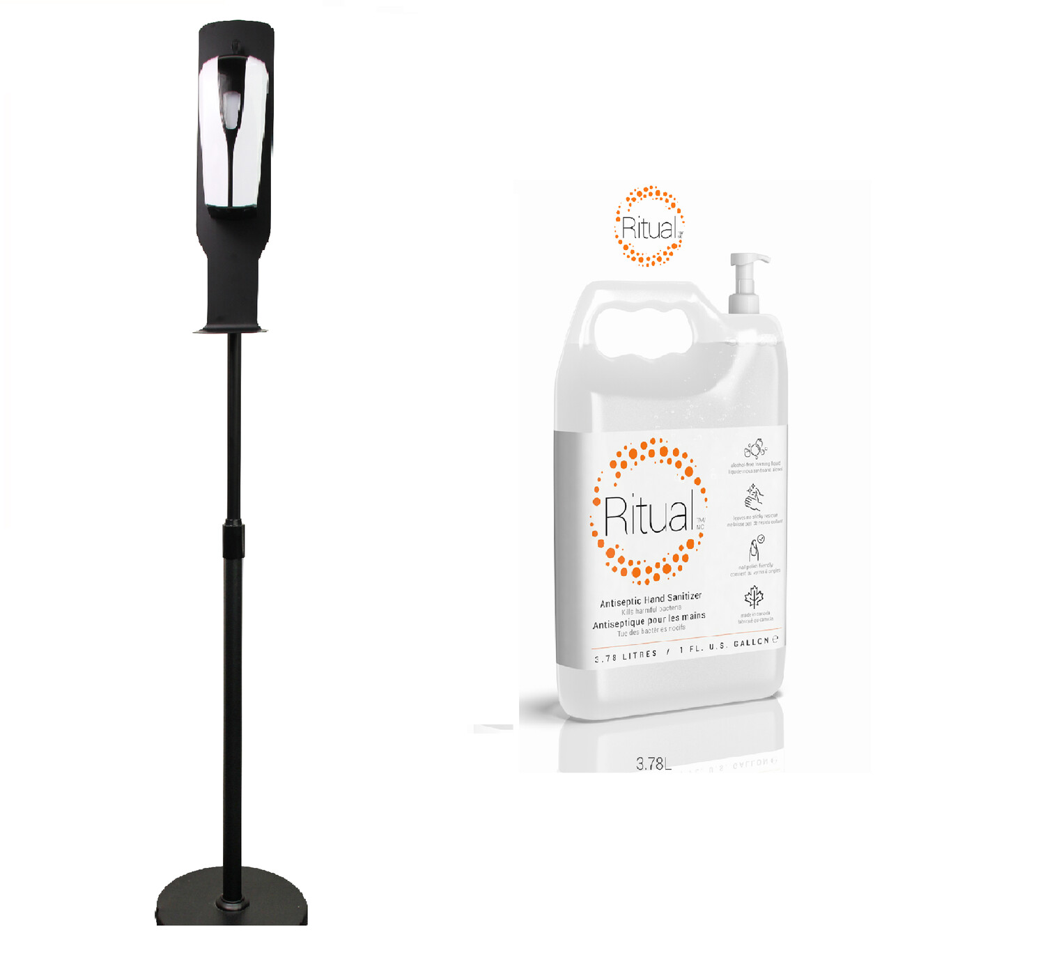 Touchless Dispenser with Stand and 1 Gallon solution