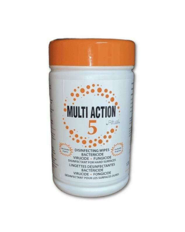 Multi Action 5 Wipes by Ritual. Bactericide, Virucide, Fungicide Disinfecting Wipes.