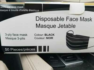 Black Surgical Masks Box of 50