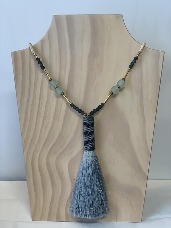 Wood & Glass W/Tassel 013-8-20