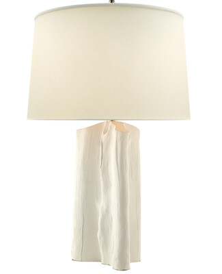 Faux Bois Plaster White Table Lamp with Natural Paper Shade