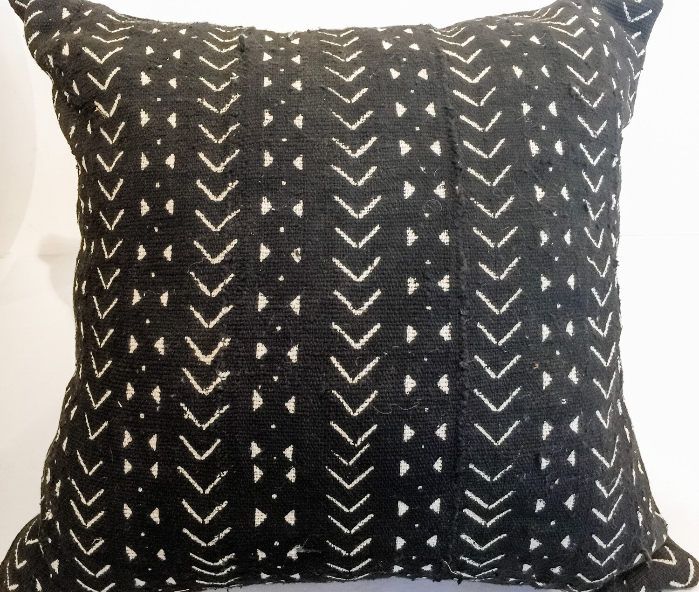 "EN013 Black Mudcloth Pillow 21"" x 21"""